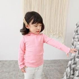 Tシャツ - PlusNao ボトルネックカットソー パイピングフリル メロー加工 リブ素材 秋 女の子 子供 長袖 キッズ 可愛い かわいい きれいめ トップスプレゼント