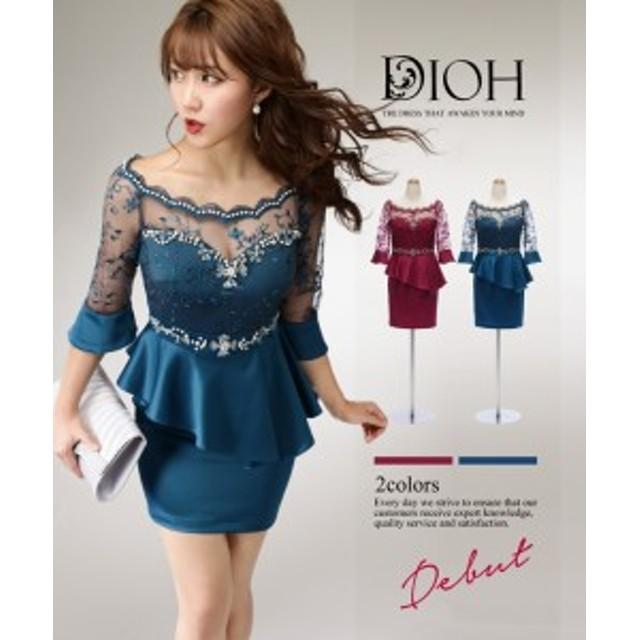 cea8111cb8cb5 DIOH ディオ  新色追加 シースルーレーススリーブ ペプラム ワンピース ドレス