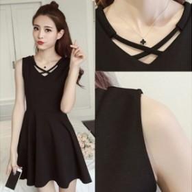 ドレス 黒 ノースリーブ シンプル フレア / 1色 ad-0001