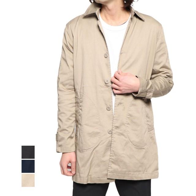 ステンカラーコート - Style Block MEN コート ステンカラーコート ライトアウター ストレッチツイル ベーシック アウター メンズ ベージュ ブラック ネイビー 春先行