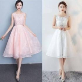 パーティードレス 結婚式 二次会 お呼ばれ ワンピース ノースリーブ お呼ばれドレス ドレス 20代 30代 40代 Aライン ひざ丈