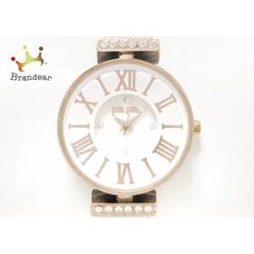 フォリフォリ FolliFollie 腕時計 美品 WF13B014SSW レディース 革ベルト 白 新着 20190119