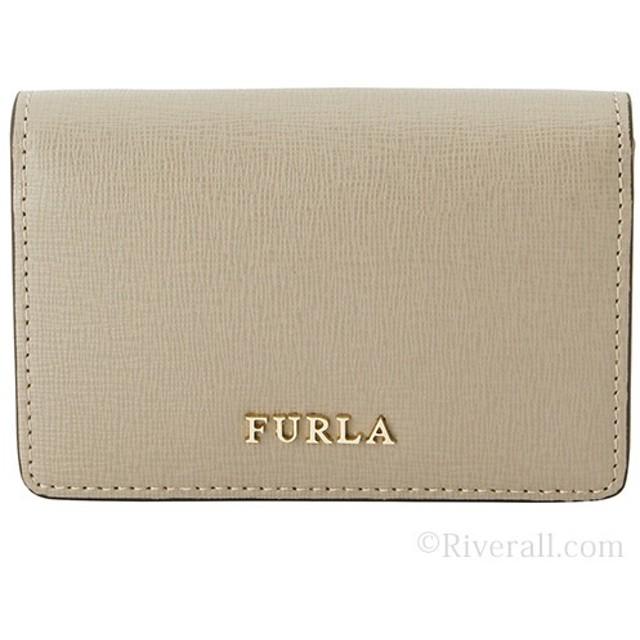 407f8536e374 フルラ FURLA BABYLON S BUSINESS カードケース 名刺入れ グレージュ レザー 871053