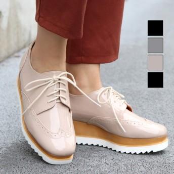 厚底ブーツ - NOFALL スクエアトゥウイングチップシューズ 靴 シューズ レディース マニッシュ 可愛い オシャレ 韓国風 厚底 歩きやすい 疲れにくい 黒 ブラック ベージュ シルバー 軽量 NOFALL SANGO