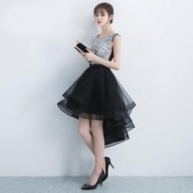 結婚式ドレス お呼ばれ ワンピース パーティードレス 二次会 袖なし20代 30代 DR0682