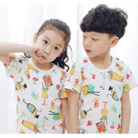 Tシャツ - PlusNao Tシャツ 半袖 キッズ 子供服 シャツ トップス カットソー 男の子 女の子 夏 デザイン 柄物 カラフル 恐竜 車 くま うさぎアニマル かわいい