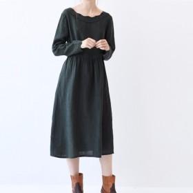 【L】刺繍入りゆったりシンプルな長袖ワンピース♪