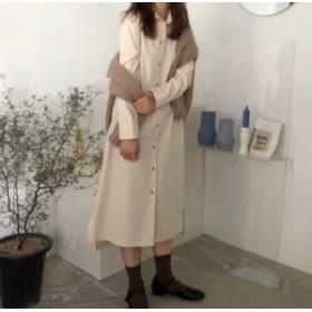 ◆2019新作◆先取り春アイテム☆シンプルデザインで着回ししやすい、ナチュラルな印象を与える、シャツワンピース♪C31184