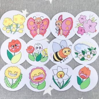 《丸画用紙素材》春のおすすめ童謡セットペープサートパネルシアター保育教材12枚セット知育玩具春の歌手作りキット壁面飾り