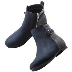 ヒールアップショートブーツ - セシール ■カラー:ダークネイビー ■サイズ:23.0cm,23.5cm,24.5cm