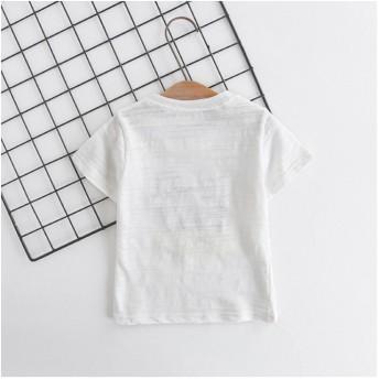 Tシャツ - PlusNao 半袖Tシャツ Tシャツ 子供服 ボーイズ ガールス キッズ 男の子 女の子 クルーネック トップス アップリケ 半袖 可愛い かわいい90cm-130cm