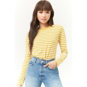 Tシャツ - FOREVER 21 【WOMEN】 【ボーダーラウンドネックトップ】 Tシャツ カットソー オレンジ 紺 ネイビー 黄色 イエロー S M L 長袖