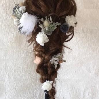 ブルー&ホワイト ロング用 ☆ ウェディング・卒業式・成人式・ヘッドドレス・髪飾り
