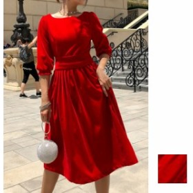 韓国 ファッション レディース ワンピース パーティードレス 結婚式 お呼ばれドレス お呼ばれワンピース ひざ丈 ミディアム 秋 冬 パーテ