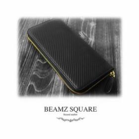 9ba11694b427 BEAMZ SQARE BS-35907-BK カーボンレザーラウンドファスナー長財布(ゴールドファスナー