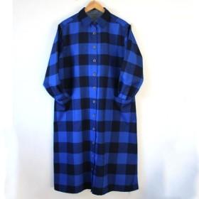 ロングシャツワンピース / 青と黒のブロックチェック