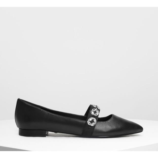レザーグログラン メリージェーンフラット / Leather Grosgrain Mary Jane Flats (Black)