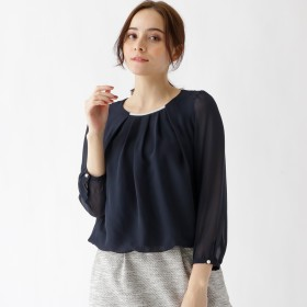 クチュール ブローチ Couture brooch 【WEB限定サイズ(S・LL)あり】【手洗い可】シフォンタックブラウス (ネイビー)