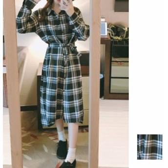 韓国 ファッション レディース ワンピース 秋 冬 カジュアル naloD011 マキシワンピース リゾートワンピース ハワイ チェック リボン ボ