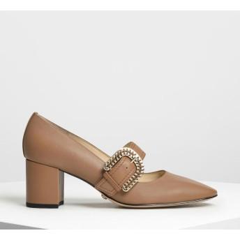 レザーバックルストラップディテール メリージェーンヒール / Leather Buckle Strap Detail Mary Jane H