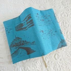 モンサンミシェルのブックカバー(文庫本size)ブルー