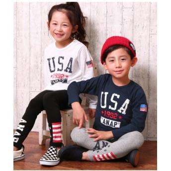 【20%OFF】 アナップキッズ USAフラッグロングTシャツ レディース NVY 110 【ANAP KIDS】 【セール開催中】