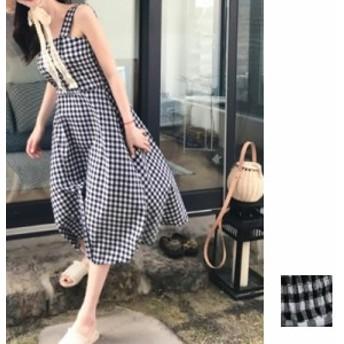 韓国 ファッション レディース ワンピース 夏 春 カジュアル nalo9475 マキシワンピース リゾートワンピース ハワイ ギンガムチェック ス