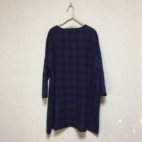 青×黒 リネンウール チュニックワンピースB