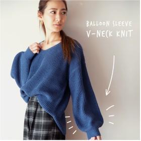 ニット・セーター - HANGAA Vネック セーター 暖かい シンプル 無地 秋冬 長袖 レディース M L