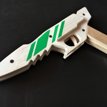 木製 ゴム銃 6連発近未来銃 JJ-12【緑】
