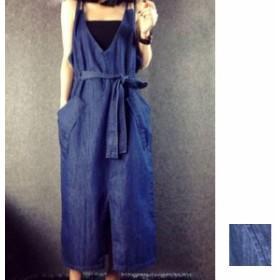 韓国 ファッション レディース ワンピース 夏 春 秋 カジュアル nalo5052 大きめポケット ゆったり ジャンパースカート スリット ロング