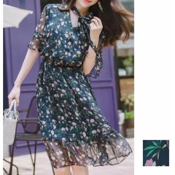 韓国 ファッション レディース ワンピース 夏 春 カジュアル naloB675 リゾートワンピース ハワイ シアー シフォン リボン 五分袖 フリル