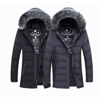 防寒 メンズダウンジャケット フォックスファー付きのフード脱着 ショートコート 冬 ブルゾン 中綿 FK-0489