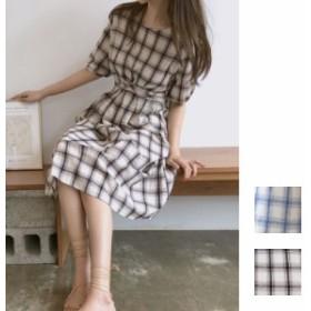 韓国 ファッション レディース ワンピース 夏 春 カジュアル 【一部即納有】naloB833  リゾートワンピース ハワイ ウィンドウペンチェッ