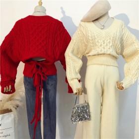 レディース トップス セーター ニット Vネック バック リボン 腰開き 背中開き ルーズ袖 ゆったりサイズ かわいい 暖か アプリコットレッド ブルー