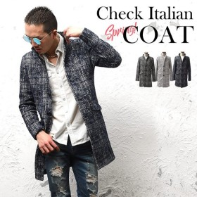 コート メンズ ジャケット テーラードジャケット スーツ イタリアンカラー コート 立て襟 チェック 総柄 細身 タイト 無地 襟 XL