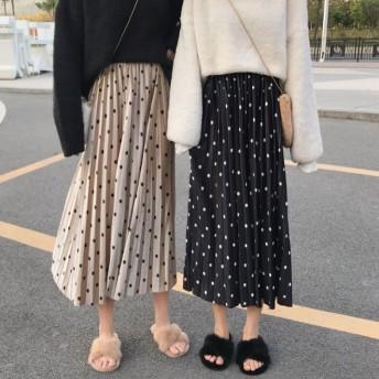 韓国ファッション ドット ベロアプリーツスカート レディース スカート ベロア プリーツ フレア Aライン シンプル トレンド
