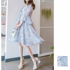韓国 ファッション レディース ワンピース 夏 春 カジュアル naloB663 リゾートワンピース ハワイ シアー シフォン リストフォール 七分