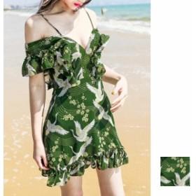 韓国 ファッション レディース ワンピース 夏 春 カジュアル naloB623 リゾートワンピース ハワイ サロペット 和柄 シアー フリル オフシ
