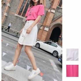 natu-loha 刺繍 ロゴTシャツ ハイウエスト フロントボタンスカート ミニスカート セットアップ 2019 春夏 naloB151 スカートセットアップ