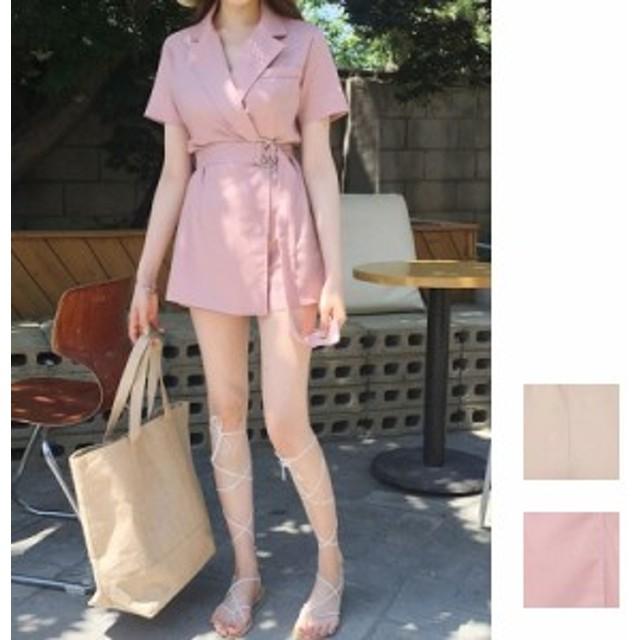 韓国 ファッション レディース オールインワン サロペット 夏 春 カジュアル naloB012 ウエストマーク スカパン ミニスカート ショートパ