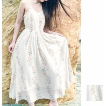 韓国 ファッション レディース ワンピース 夏 春 カジュアル naloB640 マキシワンピース リゾートワンピース ハワイ 花柄ストライプ ウエ