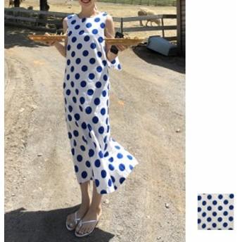 韓国 ファッション レディース ワンピース 夏 春 カジュアル naloB213 マキシワンピース リゾートワンピース ハワイ ポルカドット 水玉