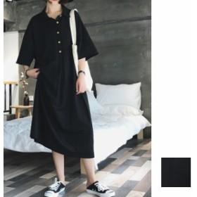 韓国 ファッション レディース ワンピース 夏 春 カジュアル naloC067 オーバーサイズ ビッグシルエット シアー モード ポロシャツ スポ