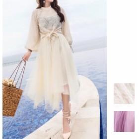 韓国 ファッション レディース パーティードレス 結婚式 お呼ばれドレス セットアップ 秋 冬 パーティー ブライダル naloD364 レース プ