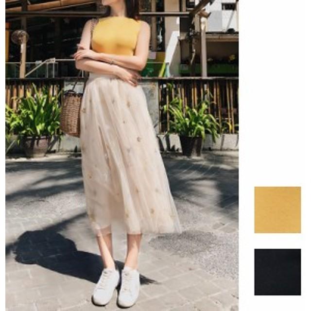 韓国 ファッション レディース セットアップ 夏 春 カジュアル naloA031 ノースリーブ タンクトップ ギャザースカート マキシ丈 チュール