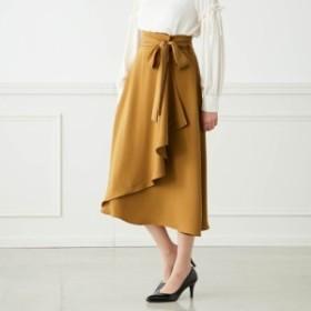 巻きスカート ラップスカート レディース ハイウエスト ロングスカート 青 黄色 大きいサイズ 通勤 オフィス AF1344