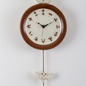 受注生産 陶器の時計 シロフクロウ ファミリー掛け時計