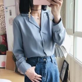 オープンカラー シンプル 無地 長袖 シャツ 2color 秋 通勤 オフィスカジュアル レディース