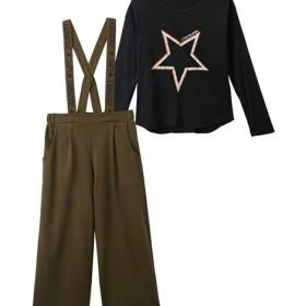 f186d7ea018c7 2点セット(サスペンダー付ガウチョパンツ+Tシャツ)(女の子 子供服 ジュニア